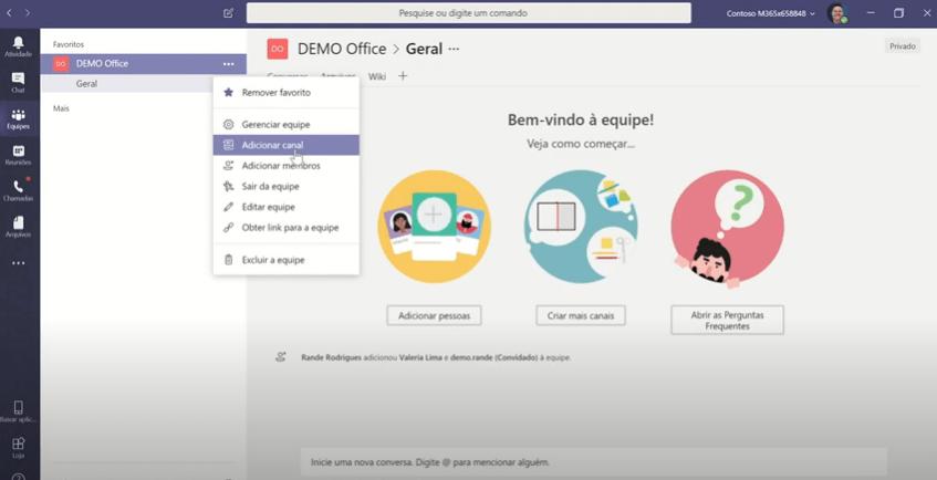 Como adicionar canal no Microsoft Teams