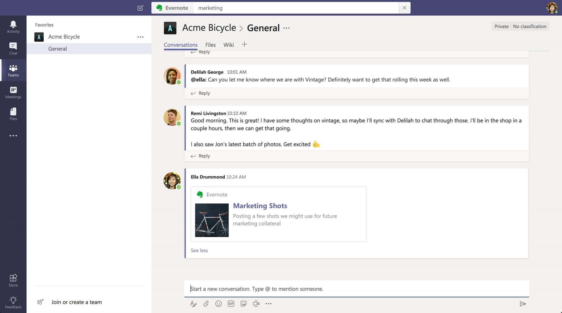 Evernote no Microsoft Teams