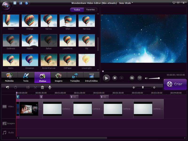 Filmora Wondershare ferramenta de edição de vídeos