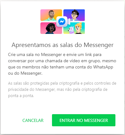 Sala do Messenger no WhatsApp