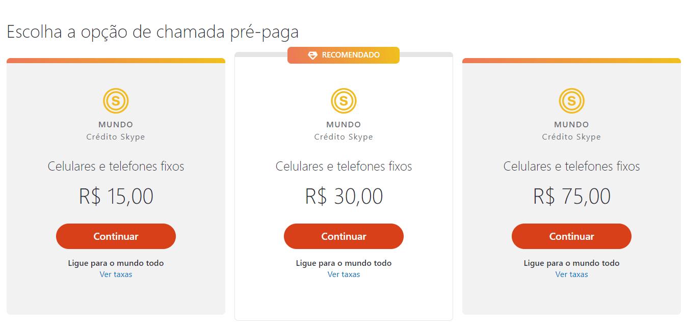 planos pré-pago skype